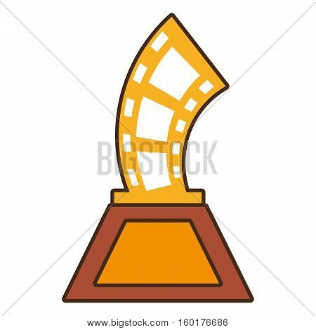 cartoon strip film trophy awards gold wooden vector illustration eps 10