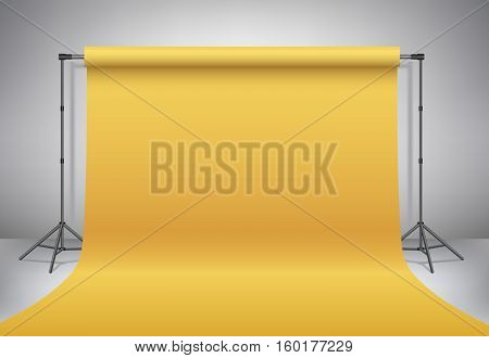 Empty photo studio. Realistic 3D template mock up. Backdrop stand (tripods) with golden paper backdrop. Gold background. Vector illustration.