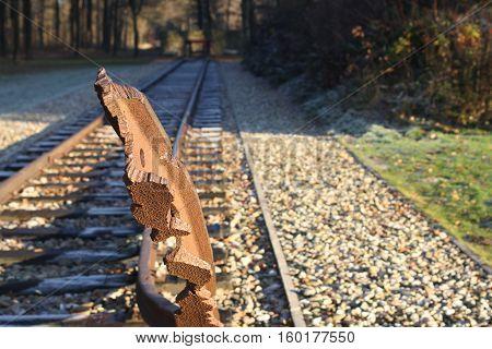 einde spoorlijn van concentratiekamp in kamp Westerbork