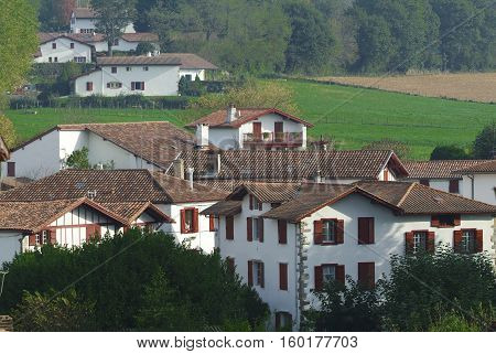 Traditional Labourdine houses in the village of Espelette Basque country France