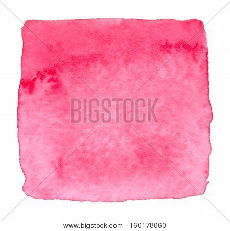 Vector pink watercolor square stain isolated on white background