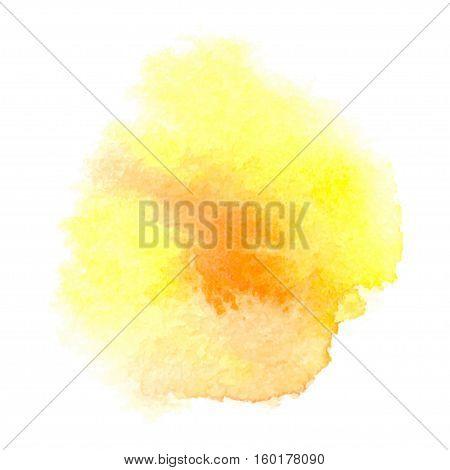 Vector orange watercolor splash background. Abstract hand paint watercolor textured backdrop
