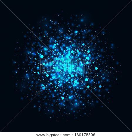 Vector blue glowing light glitter abstract background. Magic glow light effect. Star burst with sparkles on black background