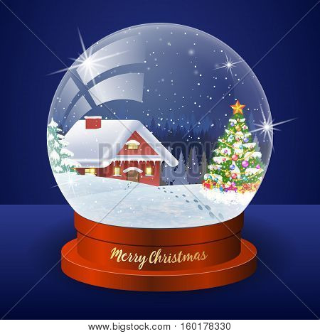 Christmas winter landscape globe with snow house forest and christmas tree inside vector illustration