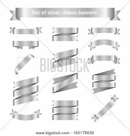 Set of silver ribbon banners. Flat vector silver tape collection. Glossy ribbons isolated on white background. Silver tapes. Label illustration for greeting card gift poster flyer your design.