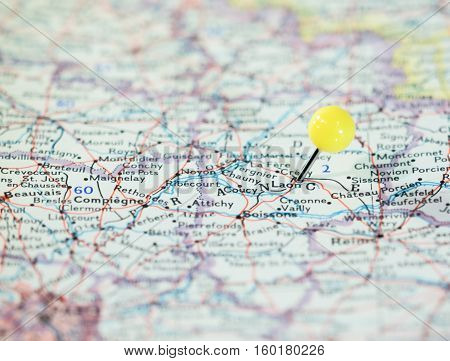 Laon France pinned on the route map