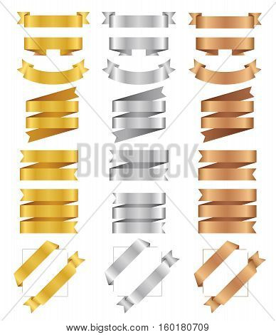 Set of bronze golden silver ribbons. Flat vector tape collection. Glossy ribbon banners isolated on white background. Bronzed tapes. Labels for greeting card gift poster flyer your design.