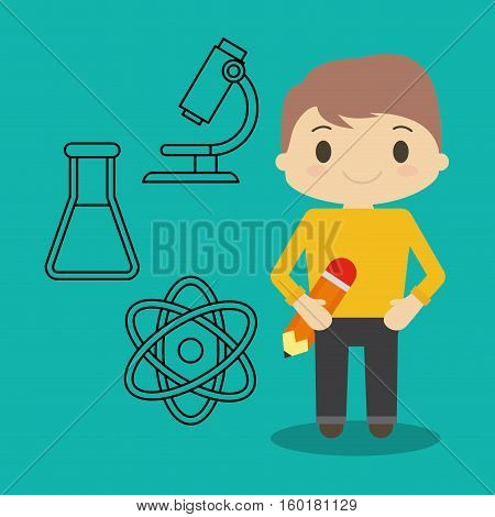cartoon boy pencil and chemical icons vector illustration eps 10