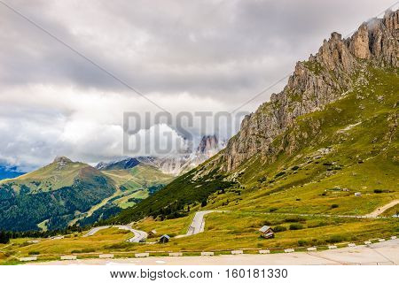 View at the road to Pordoi Pass (2239m) in Dolomites of Italy