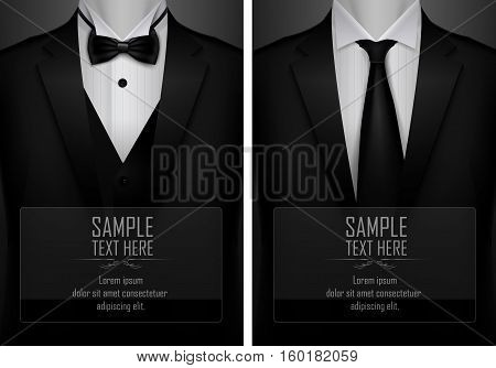 Set of business card templates with suit and tuxedo and place for text for you