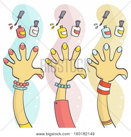 Colorful set of hands with polished fingernails and nail polish. Vector collection of funny, stylish manicure, beauty concept.