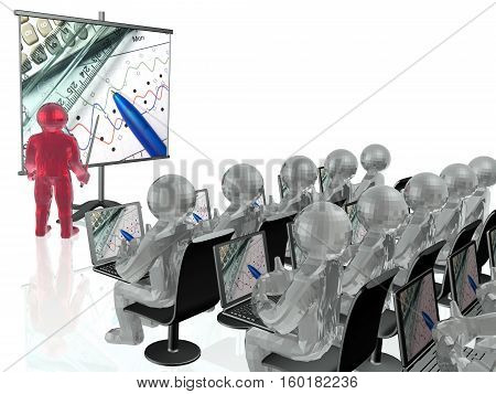 Man with presentation stands by white background with audience. 3D illustration.