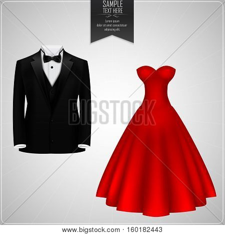 Vector illustartion of Black tuxedo and red bridal gown