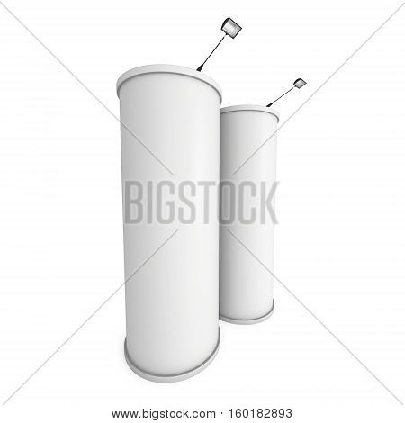 Trade show booth column white and blank. 3d render isolated on white background. High Resolution Template for your design.