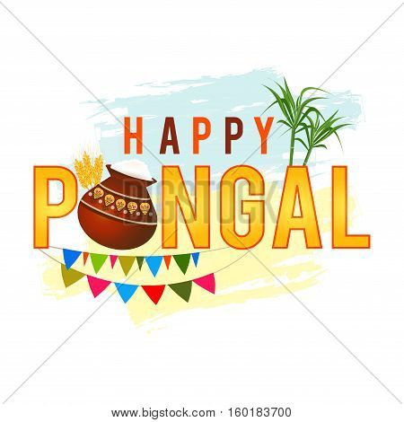 Happy Pongal greeting background with pongal rice in a traditional mud pot, wheat grain and bamboo. . Vector illustration.