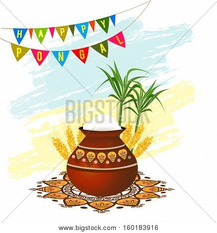 Happy Pongal South Indian harvesting festival greeting card with pongal rice in a traditional mud pot, wheat grain and bamboo. Vector illustration.