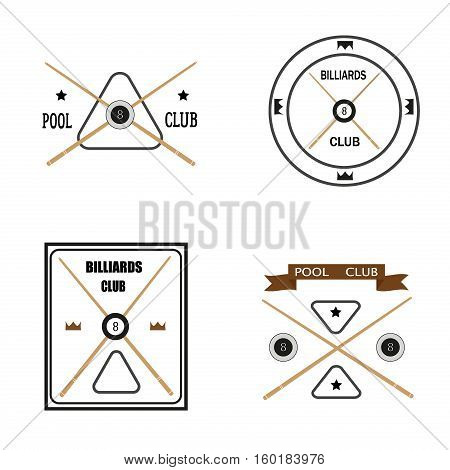 Set of billiards emblems labels and designed billiards logo elements. Pool game competition billiard ball sign sport. Vector winner league success champion challenge snooker logo.