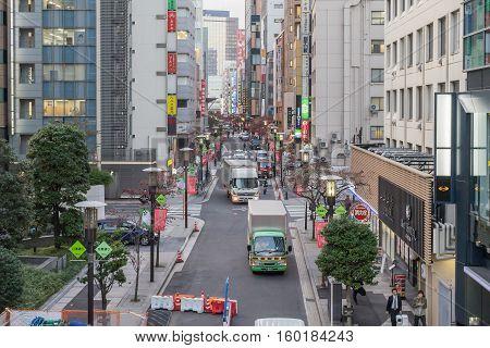 Ginza Tokyo Japan - NOV 21, 2016 : Traffic at Showa Dori road is the main road that runs through the middle of Showa in Tokyo, Japan