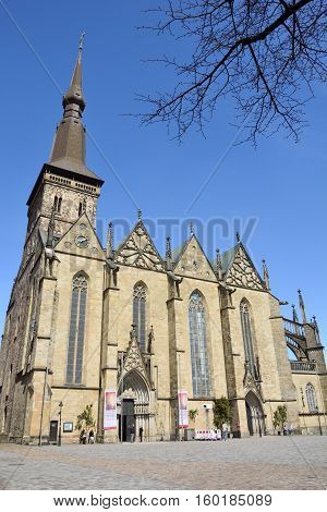 Osnabruck, Germany - April 22, 2016. Marienkirche church in Osnabruck with people
