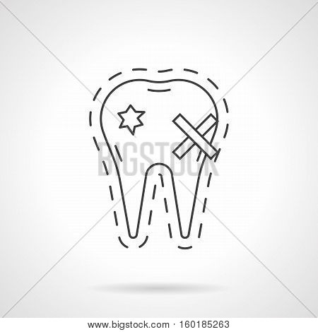 Symbol of holey tooth. Causes of toothache. Prevention of dental diseases, destruction of enamel from smoking. Oral hygiene concept. Flat black line vector icon.