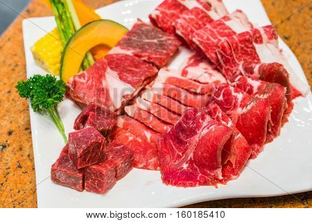 Uncooked raw fresh beef
