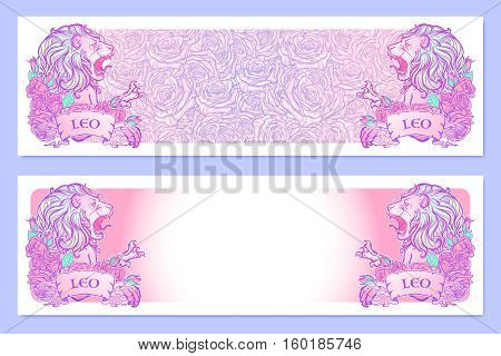 Horizontal banners with Zodiac Leo and a decorative frame of roses. Astrology web element. Tattoo design. Sketch in pastel pallette isolated on elegant pattern background. EPS10 vector illustration