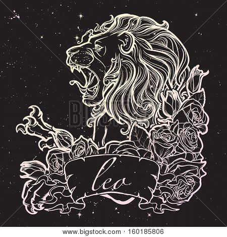 Zodiac sign of Leo with a decorative frame of roses Astrology concept art. Tattoo design. Sketch in pastel pallette isolated on starry nightsky background. EPS10 vector illustration.