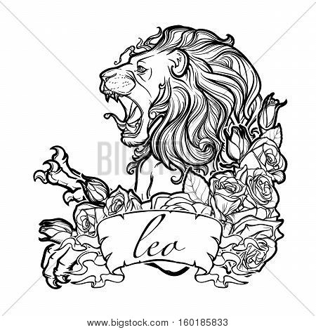Zodiac sign of Leo with a decorative frame of roses. Astrology concept art. Tattoo design. Sketch in pastel pallette isolated on white background. EPS10 vector illustration.