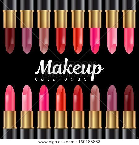 Set of realistic lipsticks in black tube vector illustration