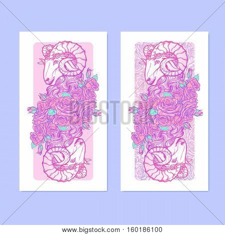Verticall banners with Zodiac Aries and a decorative frame of roses. Astrology web element. Sketch in tender pastel colors isolated on elegant pattern background. EPS10 vector illustration