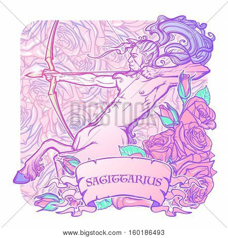 Sagittarius Zodiac sign with a decorative frame of roses Astrology concept art. Tattoo design. Sketch isolated on white background. EPS10 vector illustration.