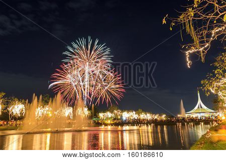 fireworks in Suan Luang Rama IX of Thailand