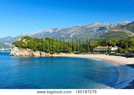Mediterranean Adriatic sea landscape near Sveti Stefan, Montenegro, Europe.