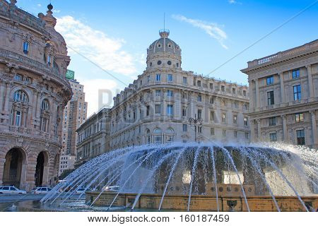GENOA ITALY - December 31, 2013: Piazza De Ferrari main square and fountain on the New Year Eve