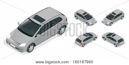 3-door Hatchback car isolated. Vector isometric icons set. Car vector template on white background. The ability to easily change the color. Urban transport