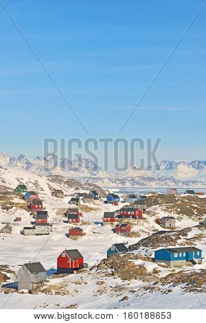 Colorful houses in Greenland in spring time