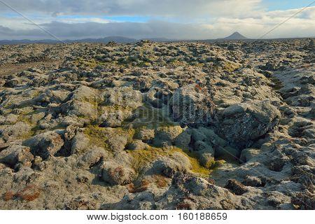 Eyjafjallajokull Iceland volcano in spring, aerial view