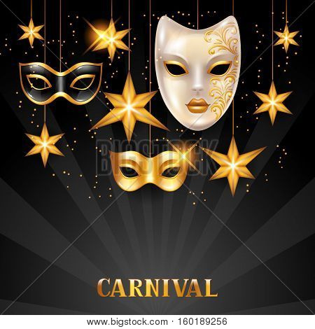 Carnival invitation card with golden masks and stars. Celebration party background.