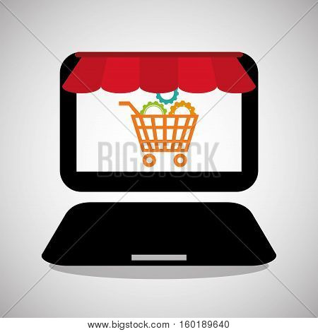 laptop shooping online gear technology vector illustration eps 10