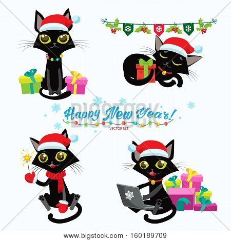 Set Of Christmas Cats Vector. Cartoon Cats With Holiday Gifts. Design For New Year Theme. Cute Cats In Christmas Costumes.
