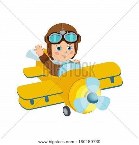 Cute Boy Pilot Flies On A Airplane Cartoon Vector. Retro Boy Pilot Isolated In White Background. Boy Pilot Costume.
