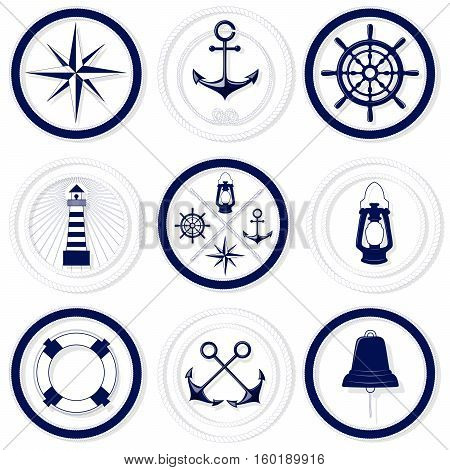 Nautical blue and white round badges with rope frames on white background vector illustration