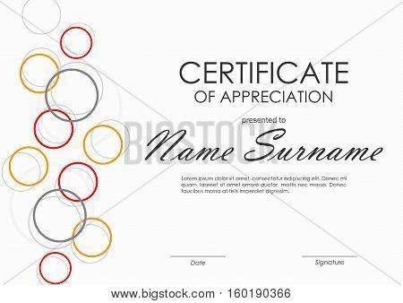 Certificate of appreciation template with geometric colorful circles background. Vector illustration