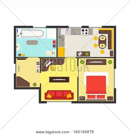 Apartment Floor Plan with Furniture Top View. Colorful Floorplan. Flat Design Style. Vector illustration