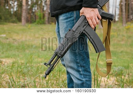 armed man. military concept. military background. crime