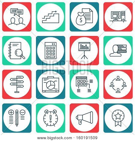 Set Of 16 Project Management Icons. Can Be Used For Web, Mobile, UI And Infographic Design. Includes Elements Such As Research, Personality, Meeting And More.