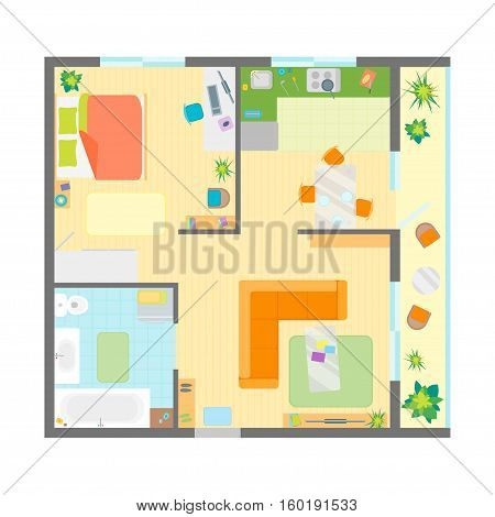Apartment Floor Plan with Furniture Top View. Family Residence Flat Design Style. Vector illustration