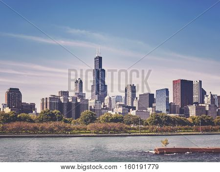 Retro Old Film Stylized Photo Of Chicago City Downtown Skyline, Usa