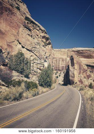 Retro Stylized Scenic Road, Travel Concept Background, Colorado, Usa.