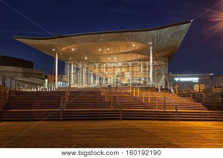 Cardiff, Wales, GB - December 4, 2016: The Senedd, also known as the National Assembly building, was opened by Queen Elizabeth II on 1 March 2006 in Cardiff, South Wales and is the location of the Welsh Parliament.